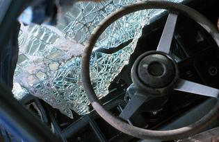 Shattered Windshield and Steering Wheel